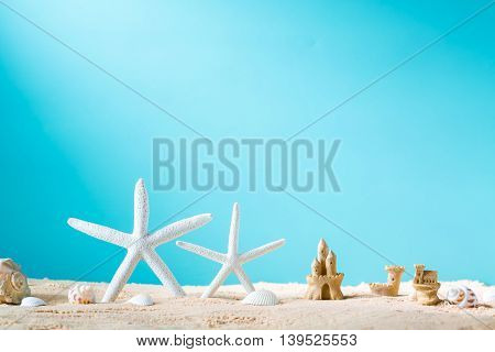Summer Theme With Starfish And Sand Castle