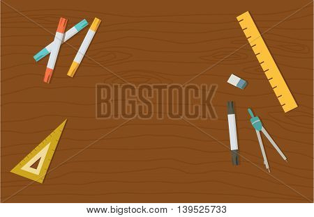 Concept of high school object and college education items with studying and educational elements. Top view of desk background.