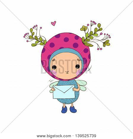Forest Fairy with a letter on a white background. Vector illustration