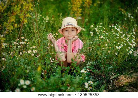 Portrait of a boy. He is sitting in the grass with daisies in summer.