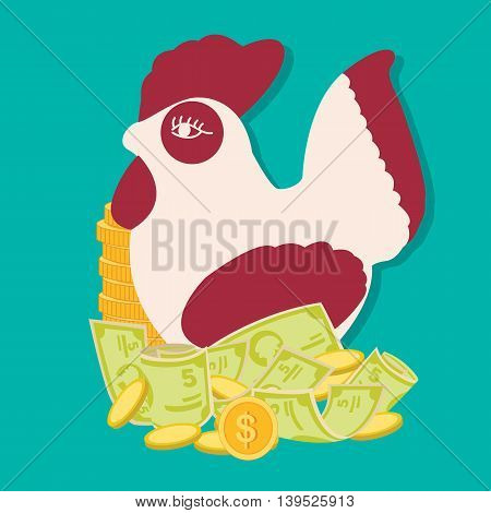 saving money concept with rooster bank, financial education for kids vecto