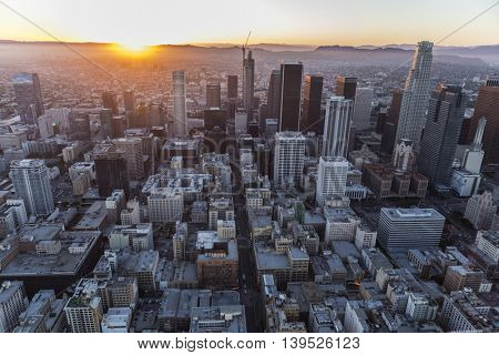 Los Angeles, California, USA - July 21, 2016:  Sunset aerial of downtown Los Angeles.