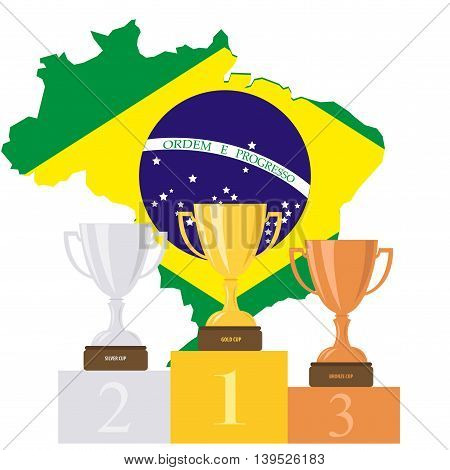 Podium. Cups. Medals. Brazil. Pedestal. Summer. Cartoon.