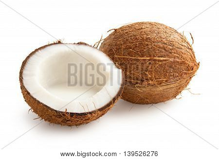 Coconut. Coconut with half isolated on white background