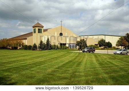 SHOREWOOD, ILLINOIS / UNITED STATES - AUGUST 30, 2015: The Holy Family Catholic Church offers worship services in Shorewood, Illinois.