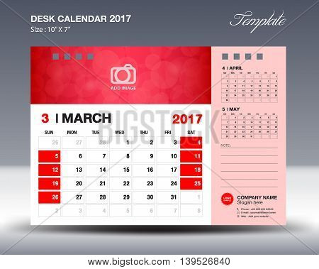 MARCH Desk Calendar 2017 Template for business