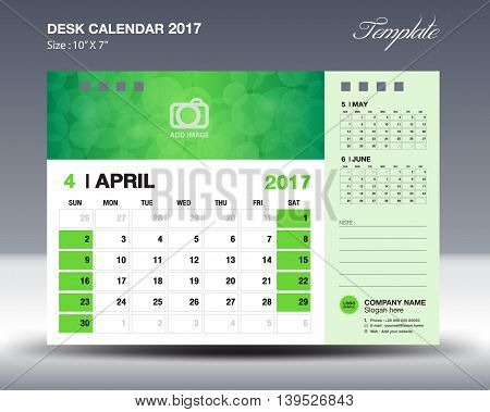 APRIL Desk Calendar 2017 Template for business