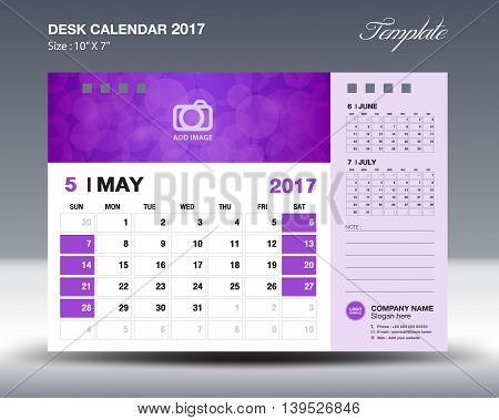 MAY Desk Calendar 2017 Template for business