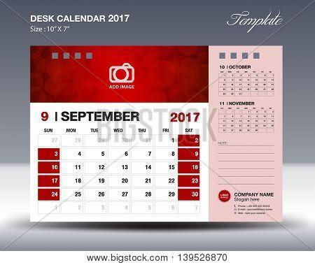 SEPTEMBER Desk Calendar 2017 Template for business