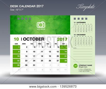 OCTOBER Desk Calendar 2017 Template for business
