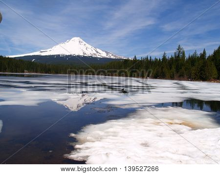 Mt Hood at the cracking of spring