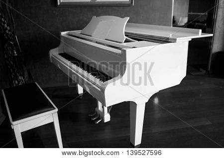 White piano in the black room. Musical keyboard instrument. Perfect equipment to extract the sounds. Classical music.