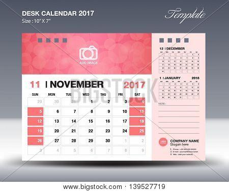 NOVEMBER Desk Calendar 2017 Template for business