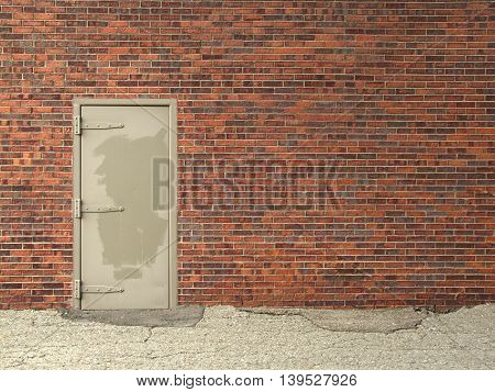 metal door and brick wall weathered background for text horizontal