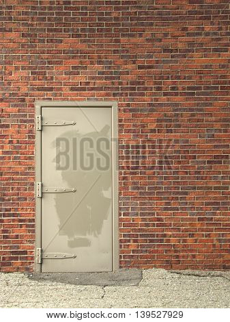 metal door and brick wall weathered background for text vertical