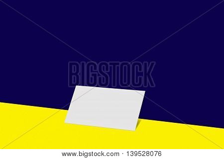 Mock-up business card. 3D illustration white paper card on color background. For your design and template.