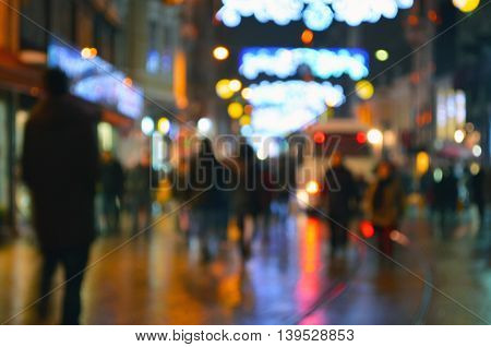 Istiklal Street. Bokeh Fuzzy View. Istiklal Avenue in the Beyoglu district of Istanbul.