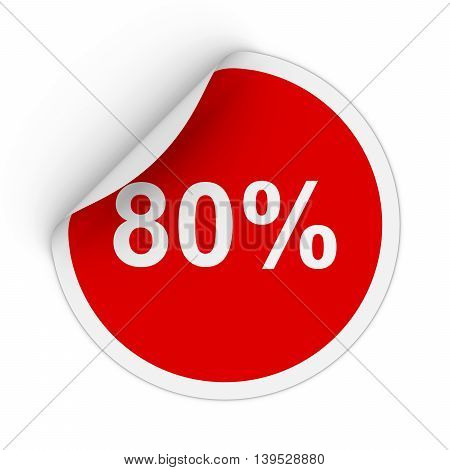 80% - Eighty Percent Red Circle Sticker With Peeling Corner 3D Illustration
