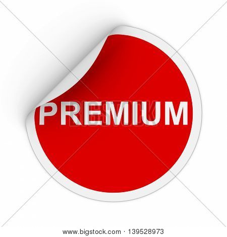 Premium Text Red Circle Sticker With Peeling Corner 3D Illustration