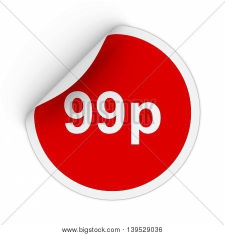 99P - Ninety Nine Pence Red Circle Sticker With Peeling Corner 3D Illustration