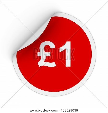 $1 - One Pound Red Circle Sticker With Peeling Corner 3D Illustration