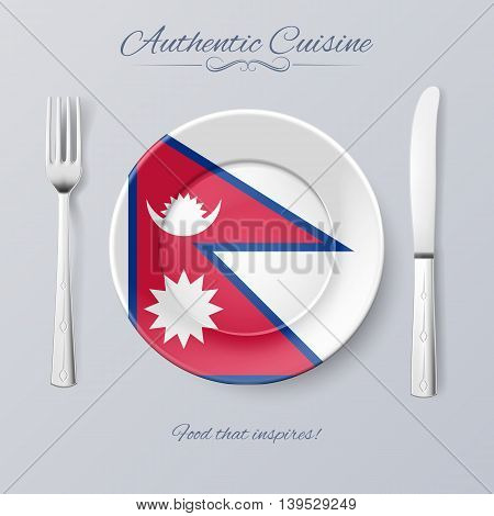Authentic Cuisine of Nepal. Plate with Nepalese Flag and Cutlery