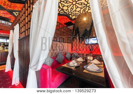 MOSCOW - AUGUST 2014: The Interior oriental restaurant