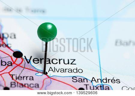 Alvarado pinned on a map of Mexico