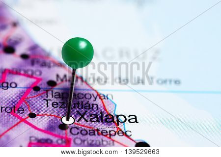 Xalapa pinned on a map of Mexico