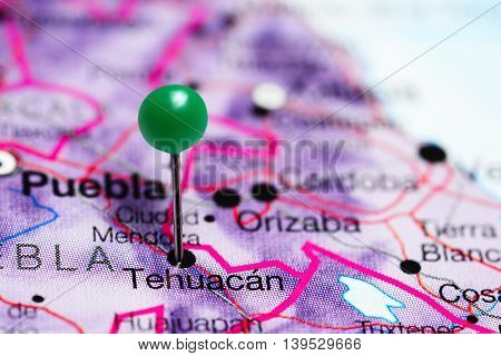 Tehuacan pinned on a map of Mexico
