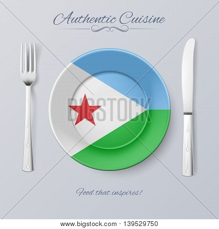 Authentic Cuisine of Djibouti. Plate with Djiboutian Flag and Cutlery