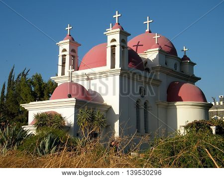 Greek Orthodox Church of the Seven Apostles in Kapernaum on the shores of Sea of Galilee in northern Israel
