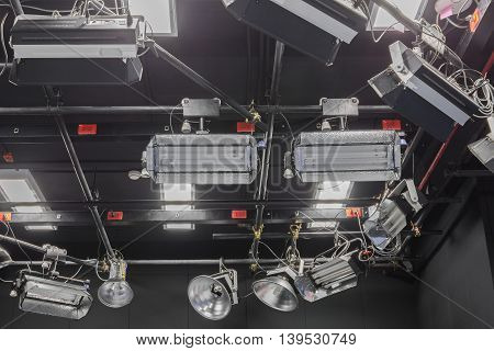 Television studio with lighting . Light for TV broadcasting.
