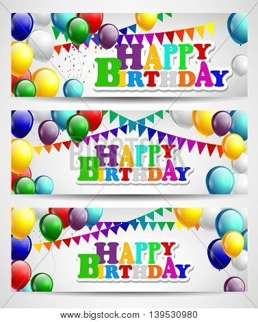 Birthday with colorful balloons for you design