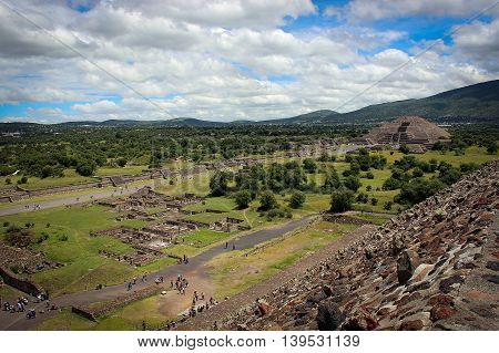 Panorama of aztec pyramids of Teotihuacan, Mexico City