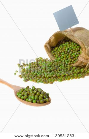 Mung green beans on white background .