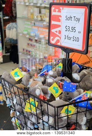 MELBOURNE AUSTRALIA - JULY 16, 2016: Koala stuffed toy sald  at a souvenir shop.