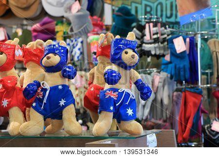 MELBOURNE AUSTRALIA - JULY 16, 2016: Kangaroo stuffed toy sold  at a souvenir shop.