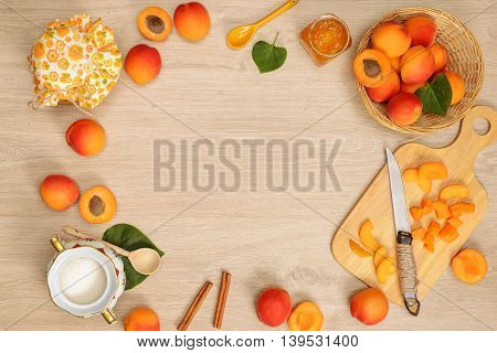 Still life of apricot fruits arranged with decorations
