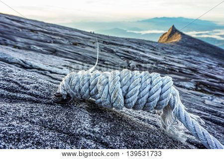 Mountain climbing rope on the summit of Mountain Kinabalu,Sabah.