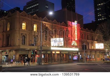 MELBOURNE AUSTRALIA - JULY 17,2016: Majesty's theatre historical architecture. Majesty's theatre is a 1700 seat theatre in Melbourne built in 1886