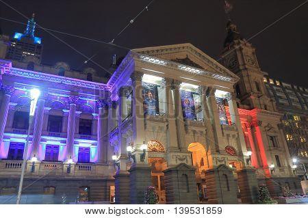 MELBOURNE AUSTRALIA - JULY 17,2016: Melbourne City Town Hall historical architecture.