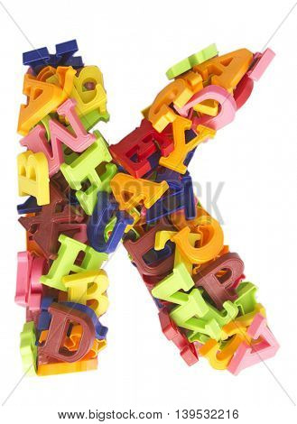 the letter K made from a lot of Magnetic letters