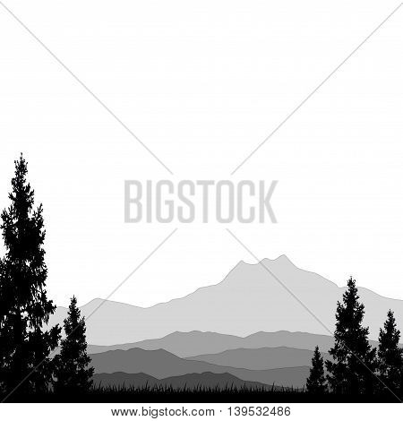 mountain with pine tree silhouette for you design