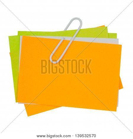 Multi Color Note With White Paper Clip