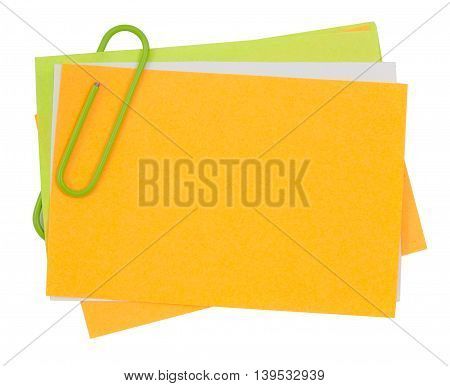 Multi Color Note With Green Paper Clip
