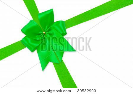 Beautiful Green Bow From Satin Ribbon