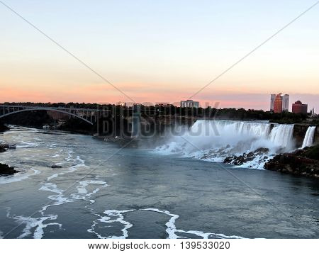 View of American Niagara Falls evening from Niagara Falls city Ontario, Canada