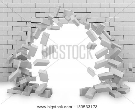Background of a brick wall broken through 3d rendering