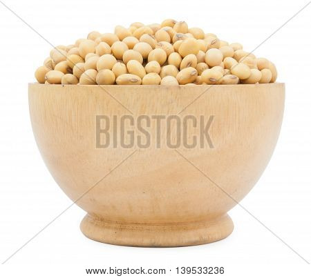 Dried Soybean On Wood Cup Isolated